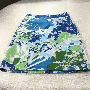 Talbots Blue & Green Floral Skirt Size 4